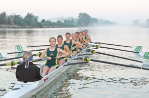 The women's team on the water in Langley.