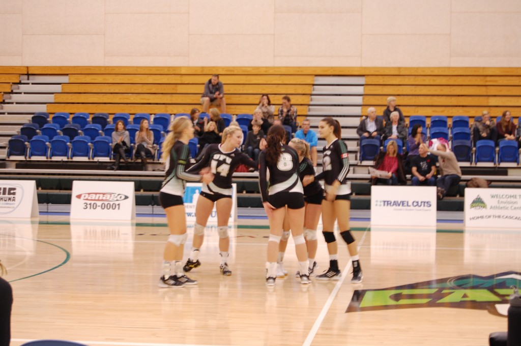 Cascades women support each other between points.