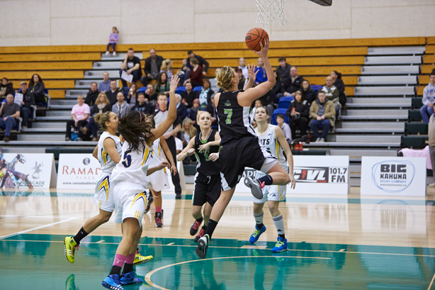Kayli Sartori ascends during play against the out-rebounded Brandon University Bobcats. (Image: Tree Frog Imaging)