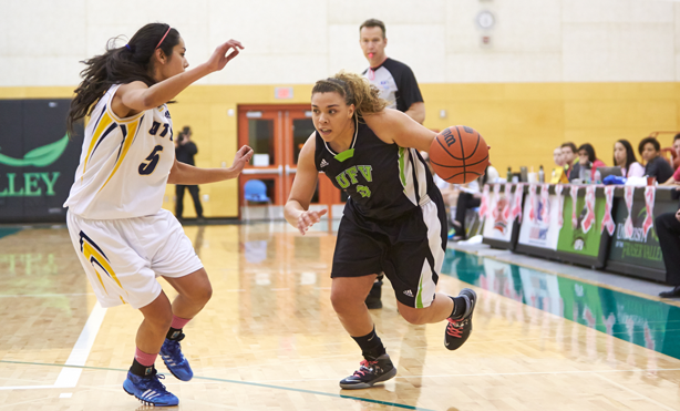 Aieisha Luyken was one of UFV's highest-skilled players, but is quick to point out the help of her teammates. (Image: Tree Frog Imaging)