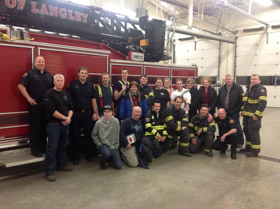 Firefighters pose with the volunteers who participated in a disaster simulation at the Aldergrove Fire Hall.(Image: Lynn Darvill)