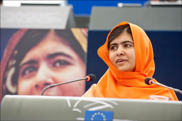Sixteen-year-old Malala Yousafzai, who survived being shot in the head by a Taliban assassin two years ago, has gone on to promote women's right to be educated throughout the world. (Image:  European Parliament/Flickr)