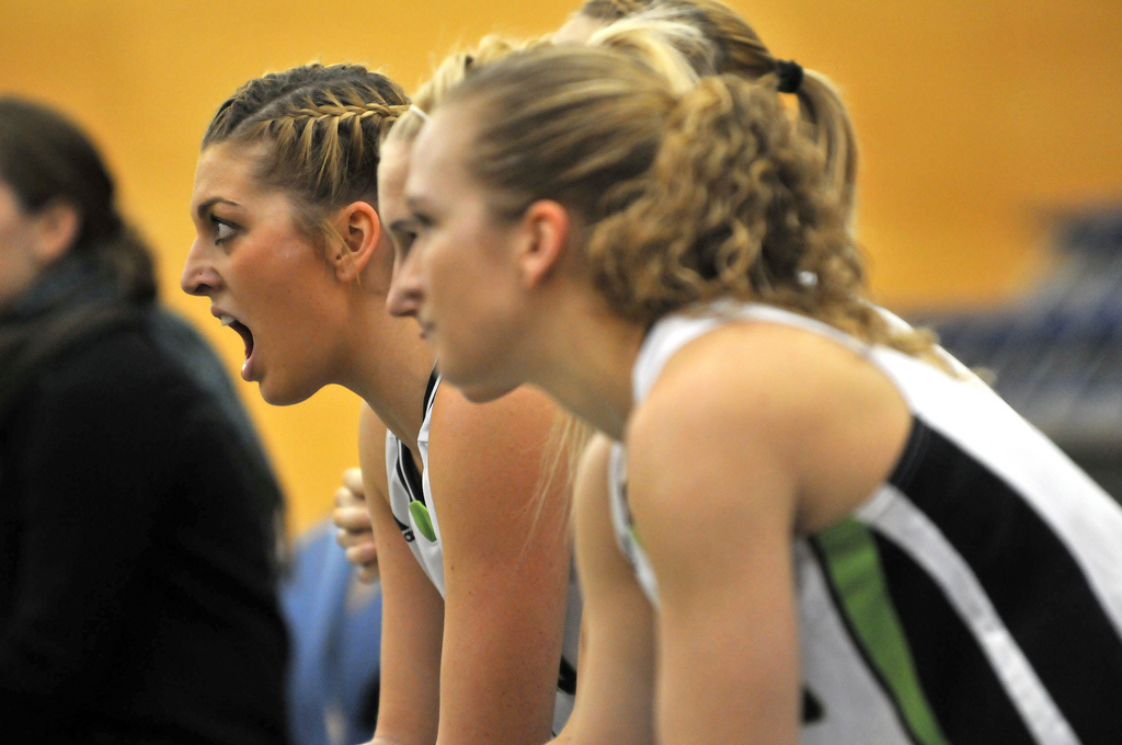 Kayli Sartori (left) and the women's basketball team fought their way into a top-two Canada West finish. (Image: University of the Fraser Valley / Flickr)