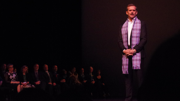 "Hadfield wears his scarf with pride and honour at ""The Sky is Not the Limit"" lecture. (Image:  Nick Ubels)"