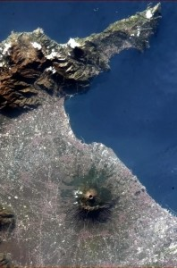 Hadfield's view of Mt. Vesuvius from space. (Image:  Chris Hadfield)