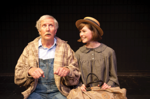 (Left to right) UFV Theatre alumni, Glen Pinchin and Danielle Warmenhoven rehearse a scene in Anne (of Green Gables), adapted for the stage by Paul Ledoux from L.M. Montgomery's novel. (Image:  Dianna Lewis, Creative Memory Studios)