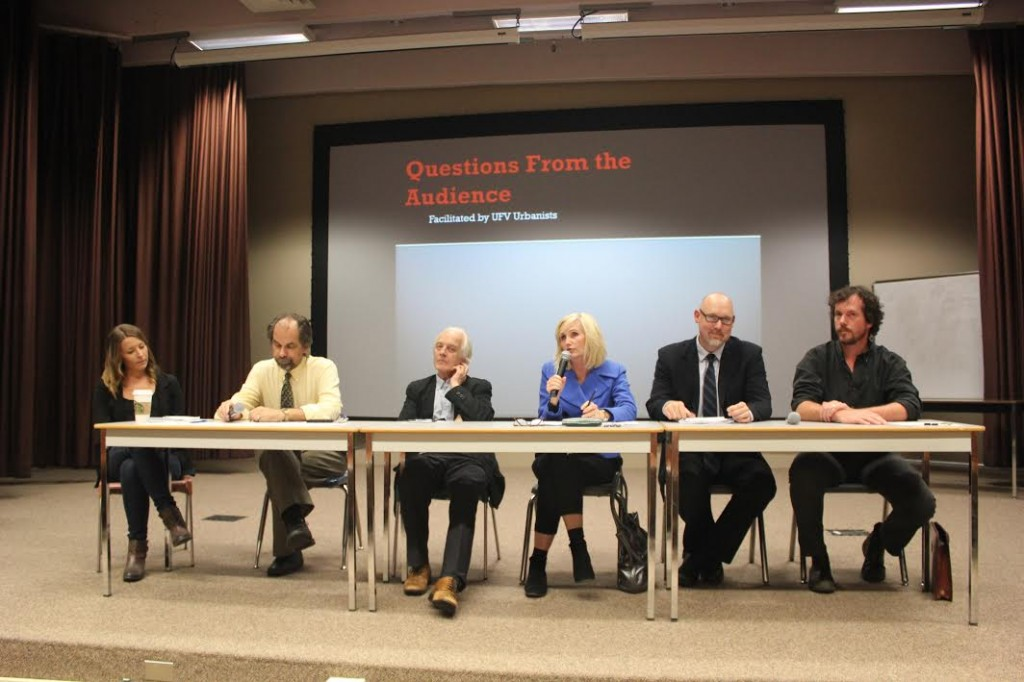 From left to right: Charis Bersaglio, Ken Brealey, Hugh Brody, Patricia Ross, Barclay Pitkethly, and David Schaepe.  (Image: Ashley Hayes)