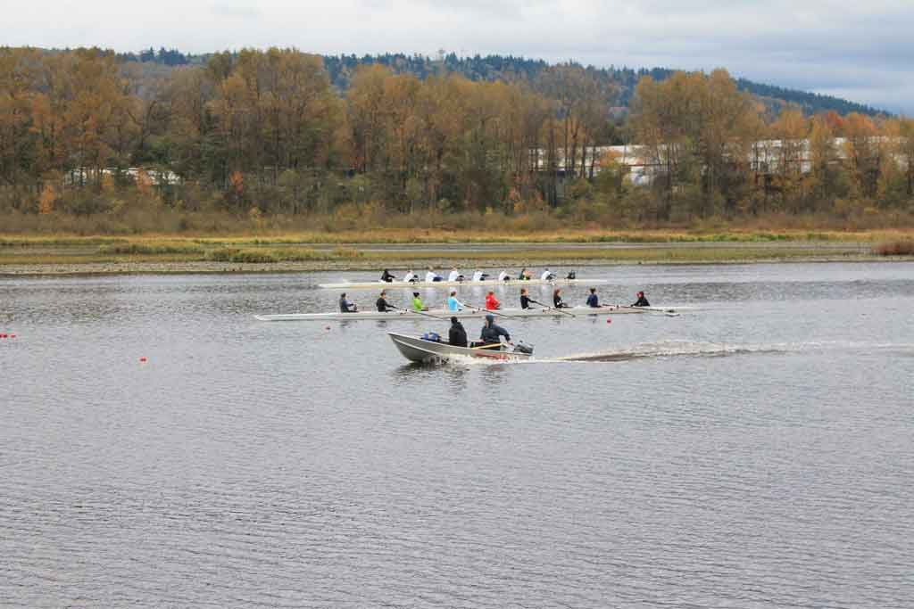 It was cold and wet during practice, but this was nothing new for the UFV rowing team. (Image: Holly Wingert)