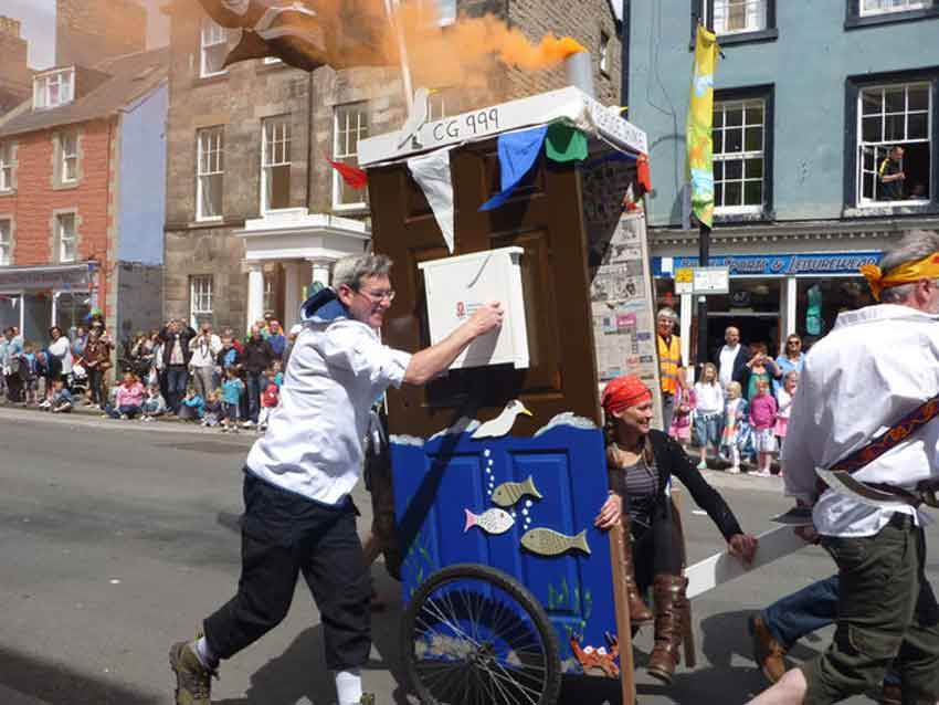 In the Dunner Derby, teams of five design and build their own outhouse-chariots. (Image: Richard West)