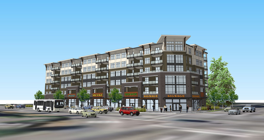 Ninety-four apartments are set to rise up from the corner of McCallum Road and King Road. (Image:  Focus Architecture)
