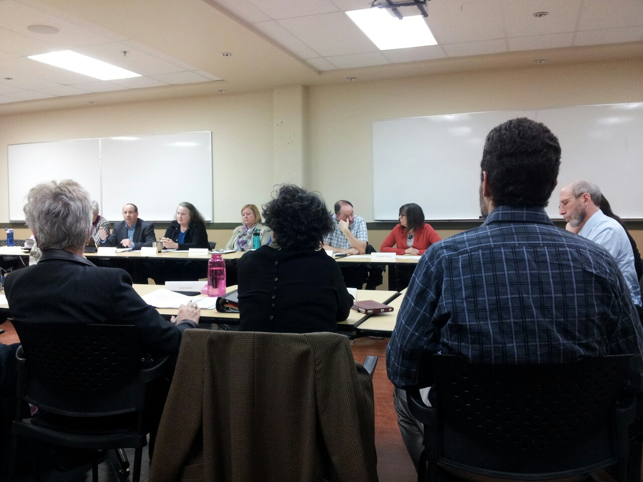UFV faculty and administration gathered to talk about the review process for the Writing Centre. VP academic Eric Davis (far right) chaired the meeting.