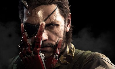 Metal Gear Solid V: The Phantom Pain cover art. Solid Snake with metal hand over face